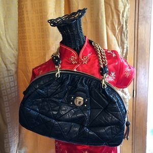 BLACK QUILTED LEATHER MARC JACOBS ITALY BOHO BAG
